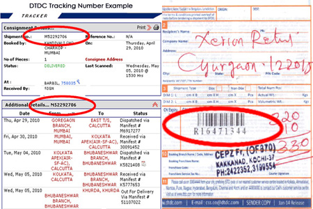 Online DTDC Tracking Number Barcode