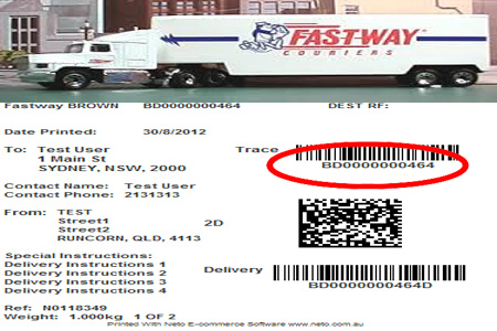 Online Fastway Tracking Number Barcode